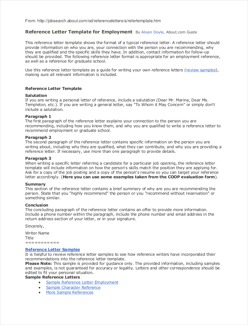 Professional Reference Letter Template Free - Reference Letter Job 29 Sample Template for Employment 1 Portrait