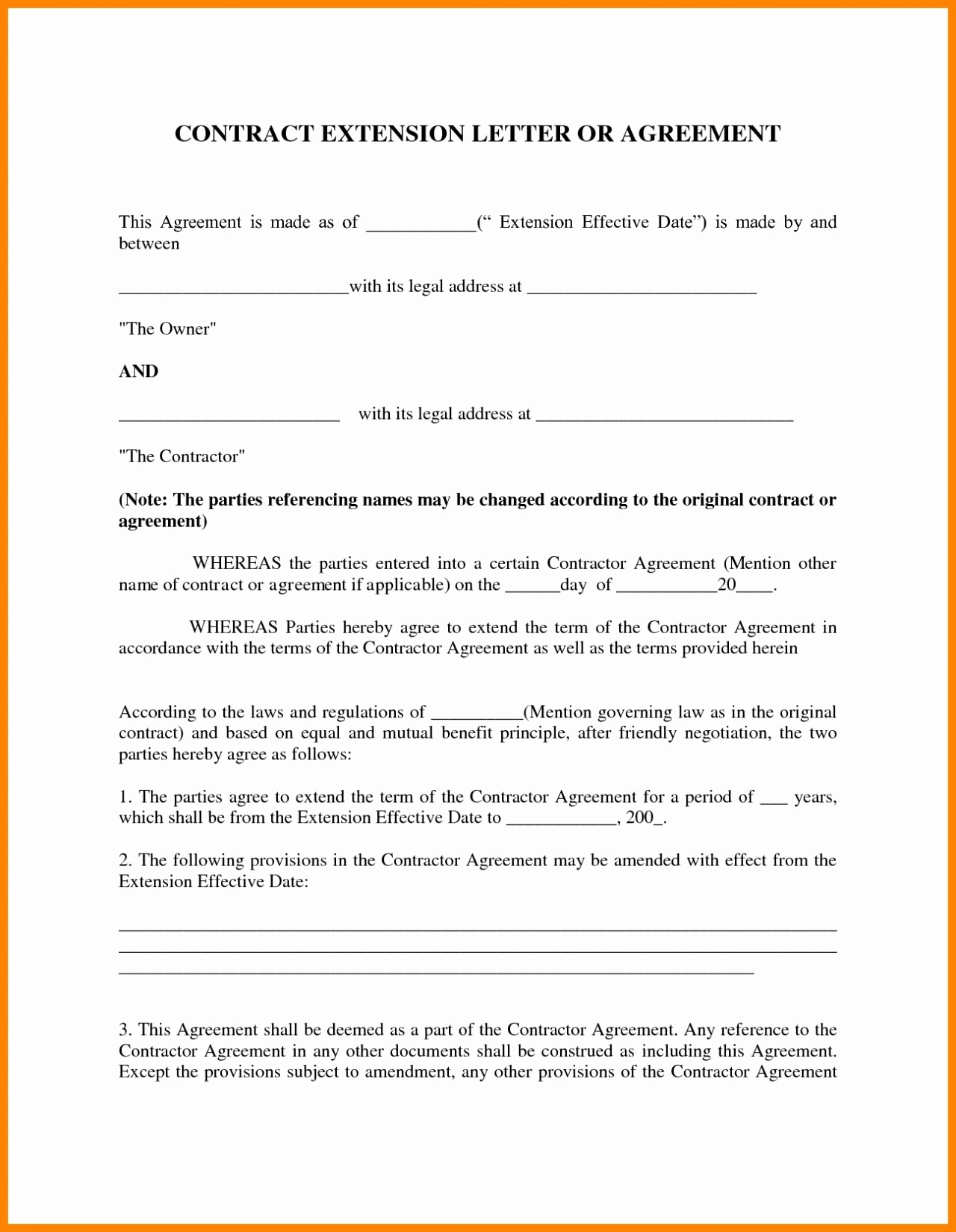 Lease Extension Letter Template - Renewal Lease Agreement Template 19 Partnership Agreement California
