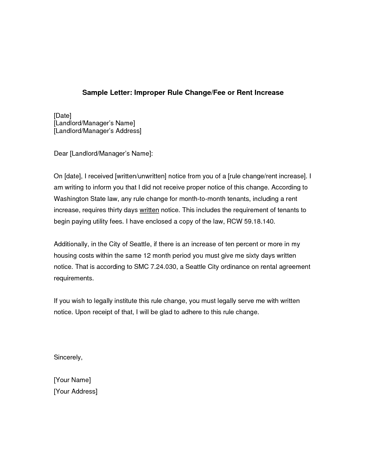 Rent Renewal Letter Template - Rent Increase Sample Letter Legal Documents