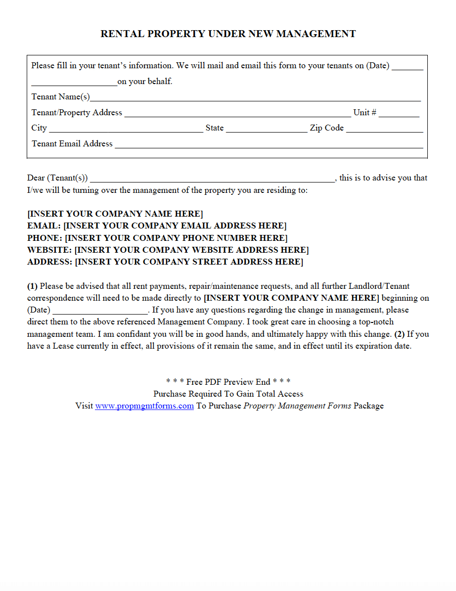 New Management Letter to Tenants Template - Rental Property Under New Management Pdf