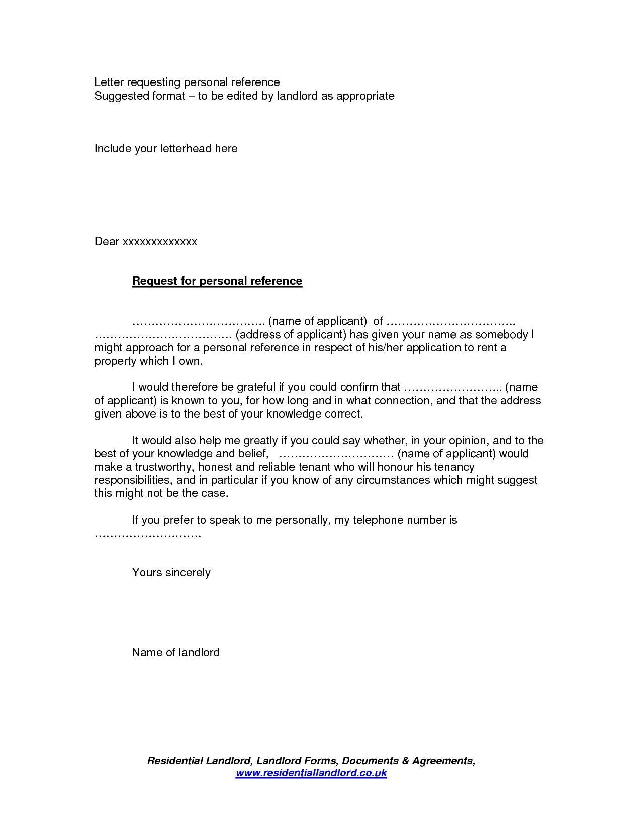 Rental Reference Letter Template - Rental Reference Letter From Friend Pdf format