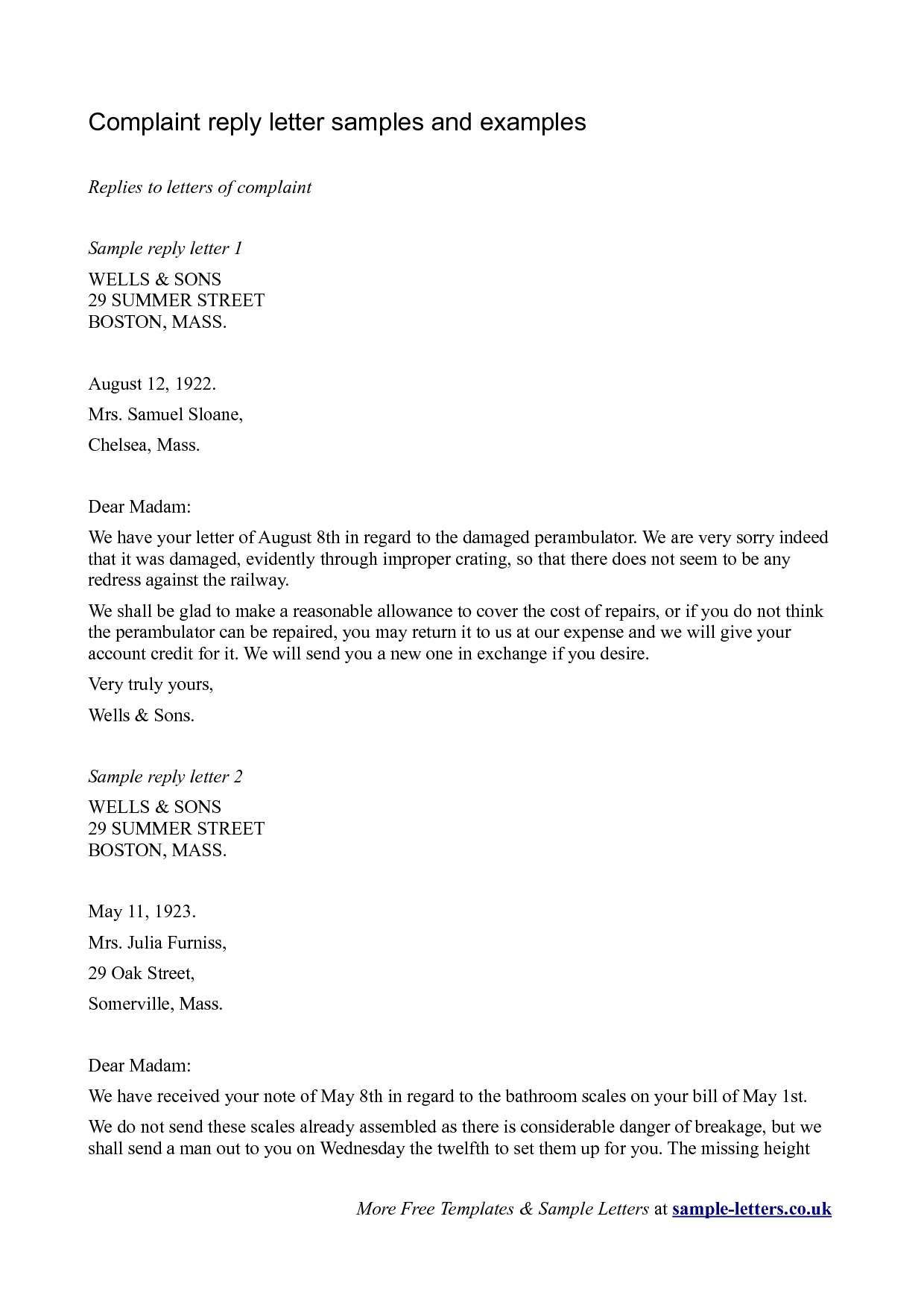 Complaint Letter Template - Replying to A Plaint Letter Template