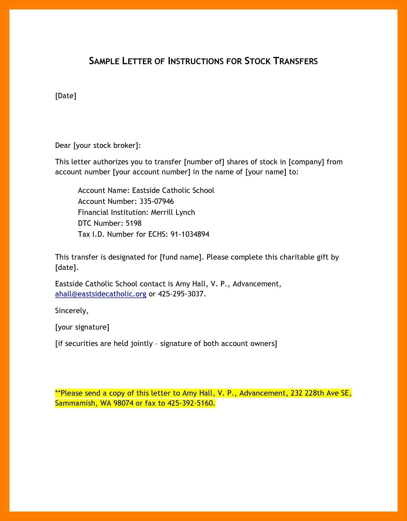 Letter Of Instruction Template Stock Transfer - Request for Transfer Application Letter for School Branch Transfer
