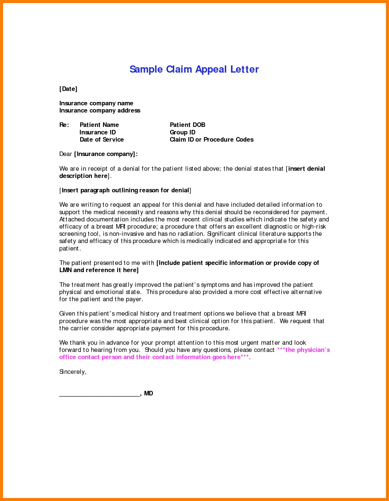 Insurance Denial Letter Template - Request Letter format for Medical Reimbursement New Appeal Letter