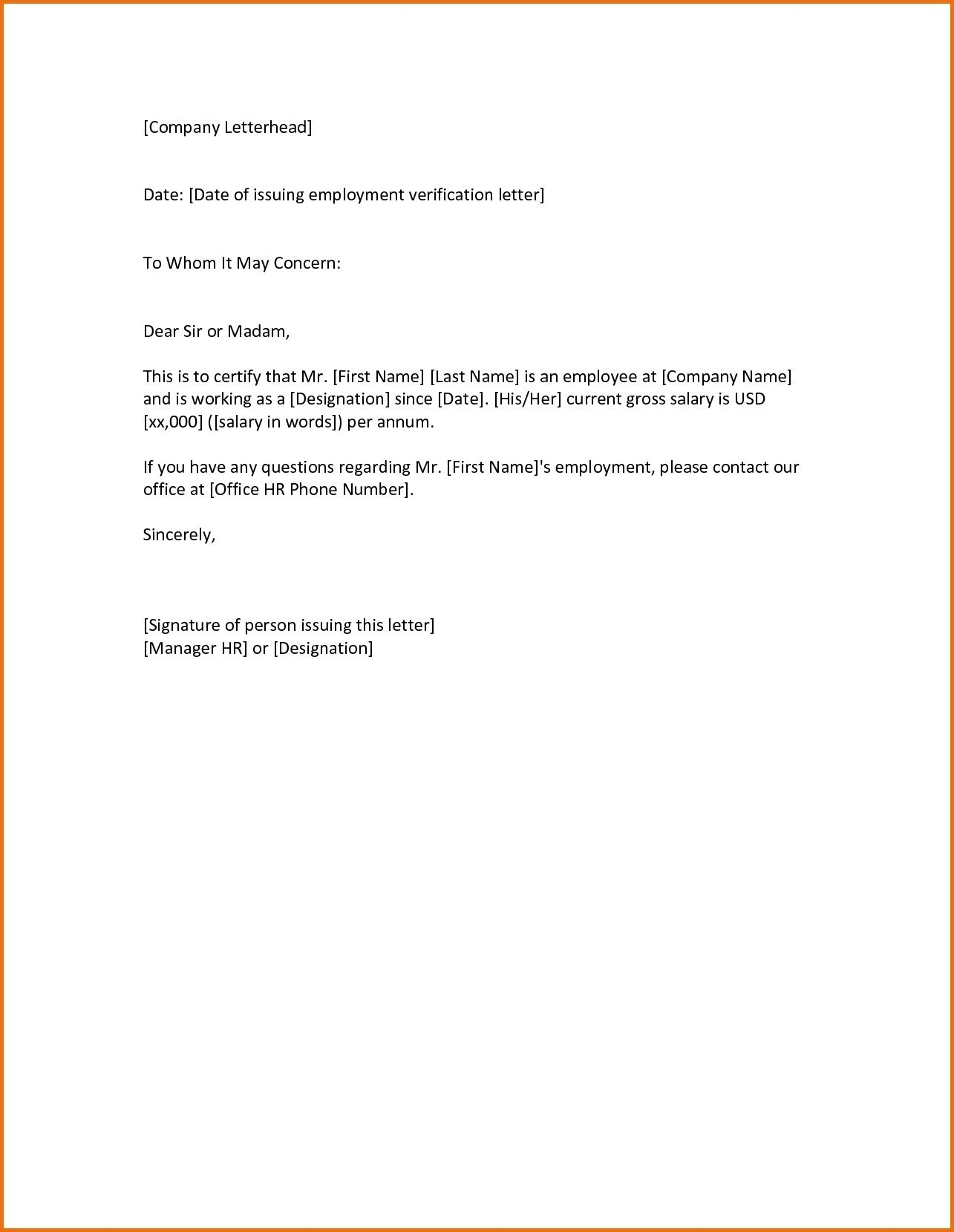 employment verification letter to whom it may concern template request letter format to whom it