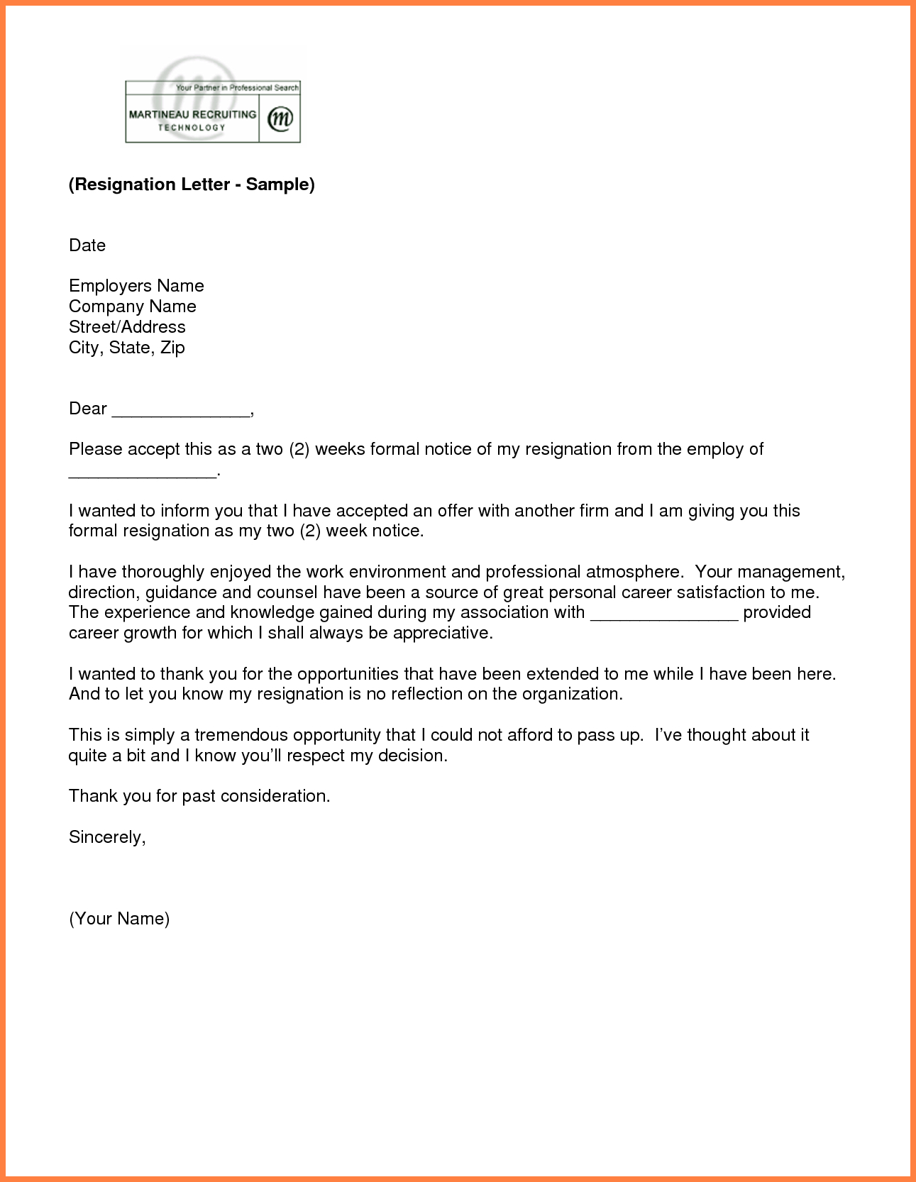 2 Week Notice Letter Template - Resignation Letter Examples 2 Weeks Notice Acurnamedia