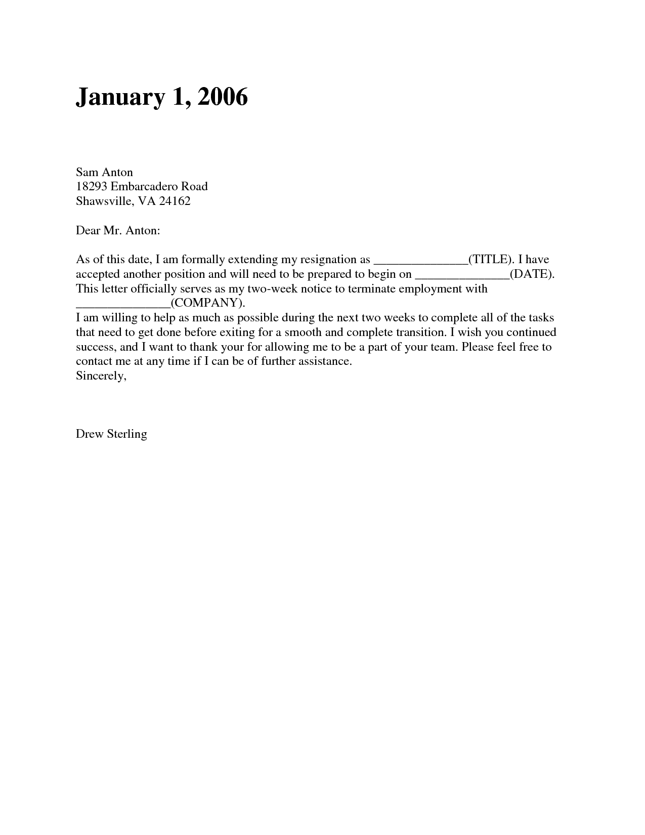 2 Week Resignation Letter Template - Resignation Letter Examples 2 Weeks Notice Acurnamedia