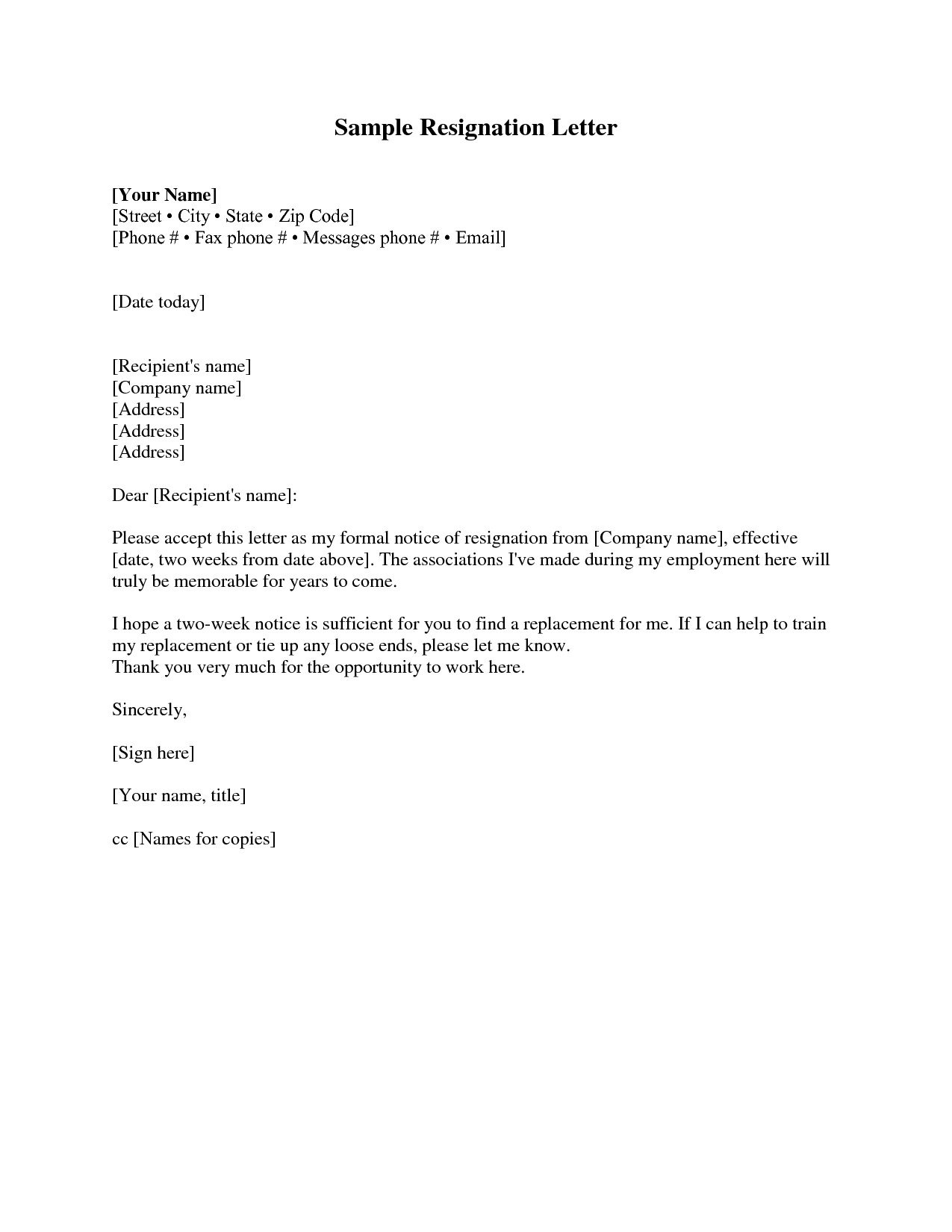 Resignation Letter Free Template Download - Resignation Letter Examples 2 Weeks Notice Acurnamedia