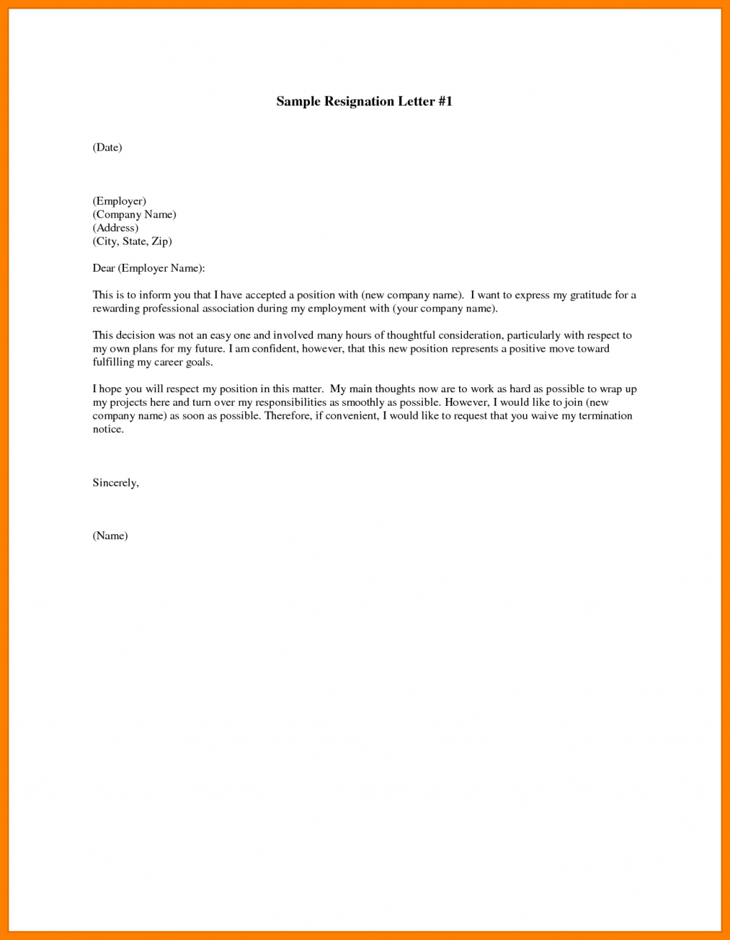 Free Resignation Letter Template Microsoft Word Download - Resignation Letter In Ms Word Sarahepps