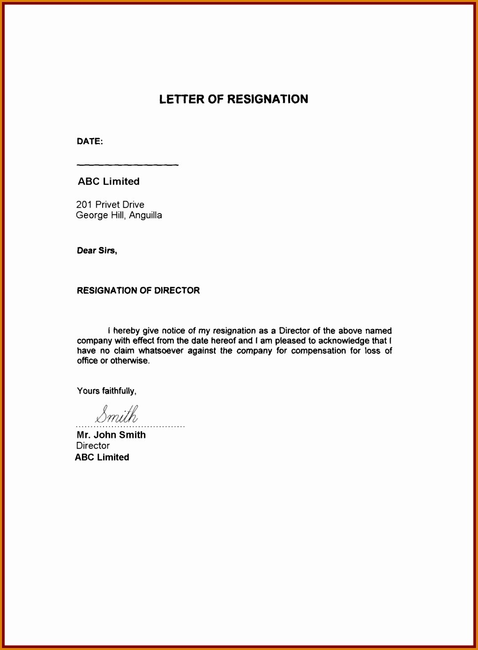Resignation Letter Free Template Download - Resignation Letter Resign Exampleample format Download Fresh Letters
