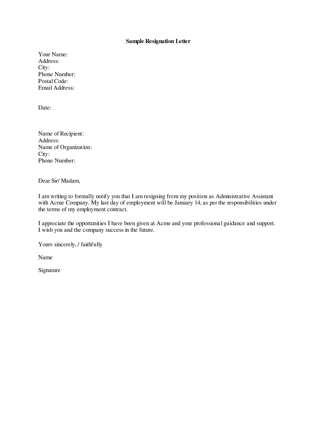 Short Resignation Letter Template - Resignation Letter Sample 19 Letter Of Resignation