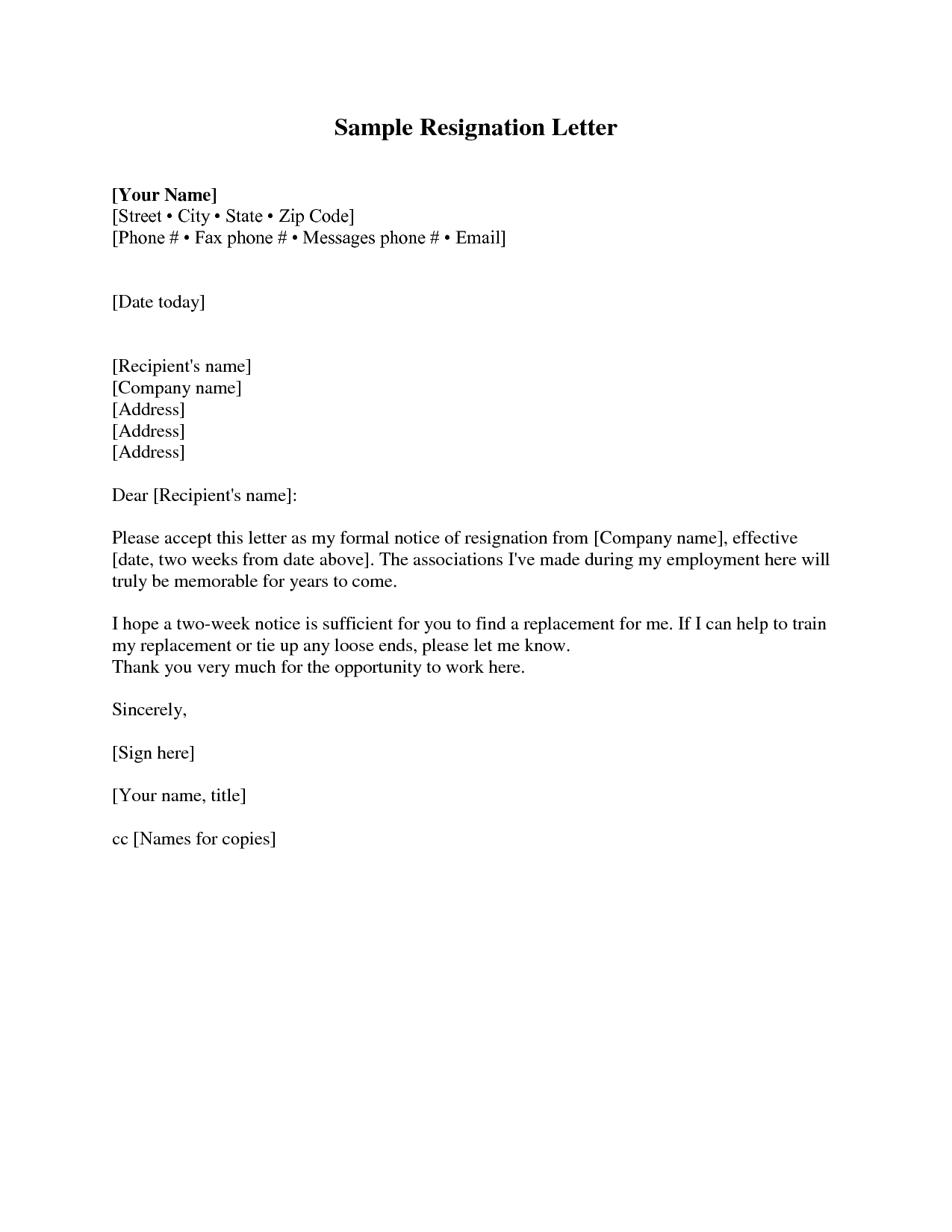 Free Printable Resignation Letter Template - Resignation Letter Sample 2 Weeks Notice Free2img