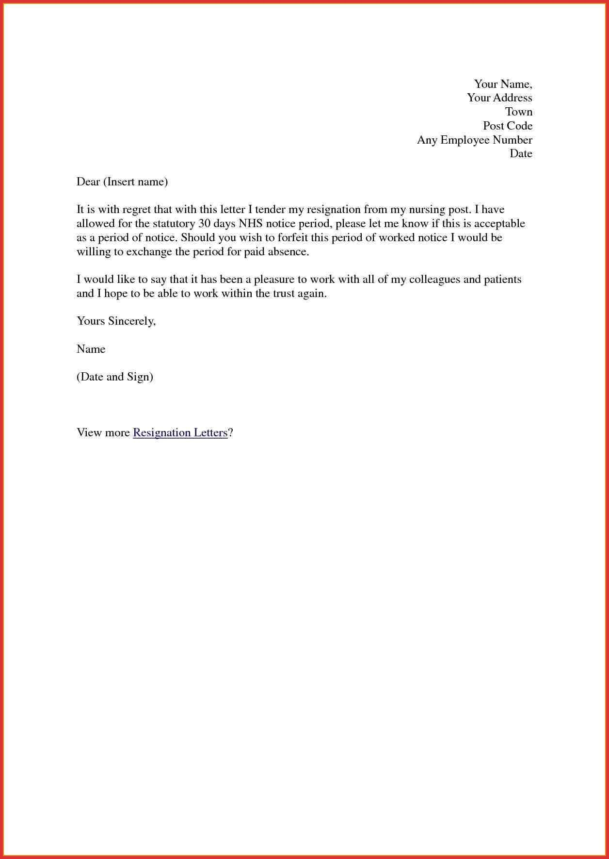 Resignation Letter Free Template Download - Resignation Letter Sample Notice Period Copy Lovely Days Picture