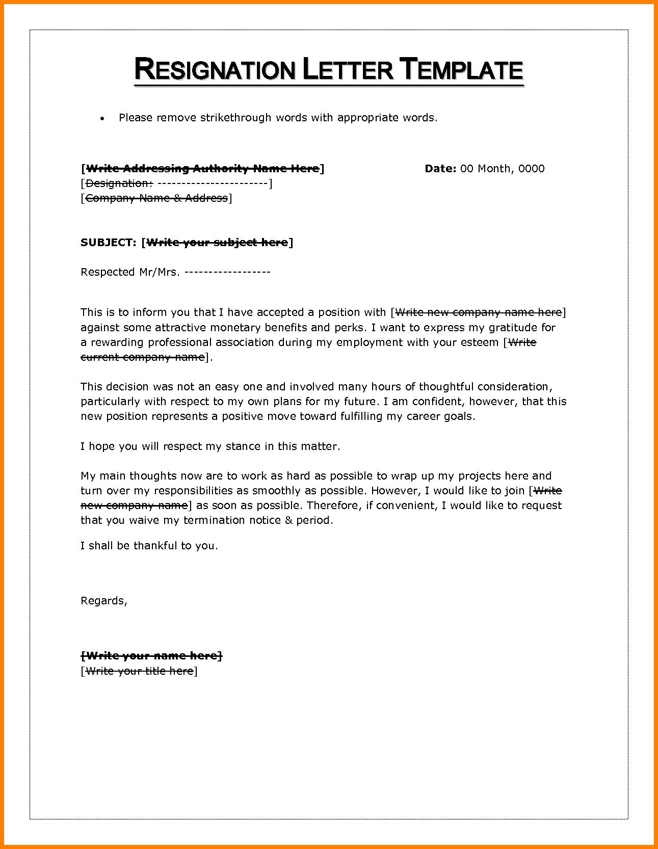 Resignation Letter Template Word - Resignation Letter Sample Notice Period Waiver New Resignation