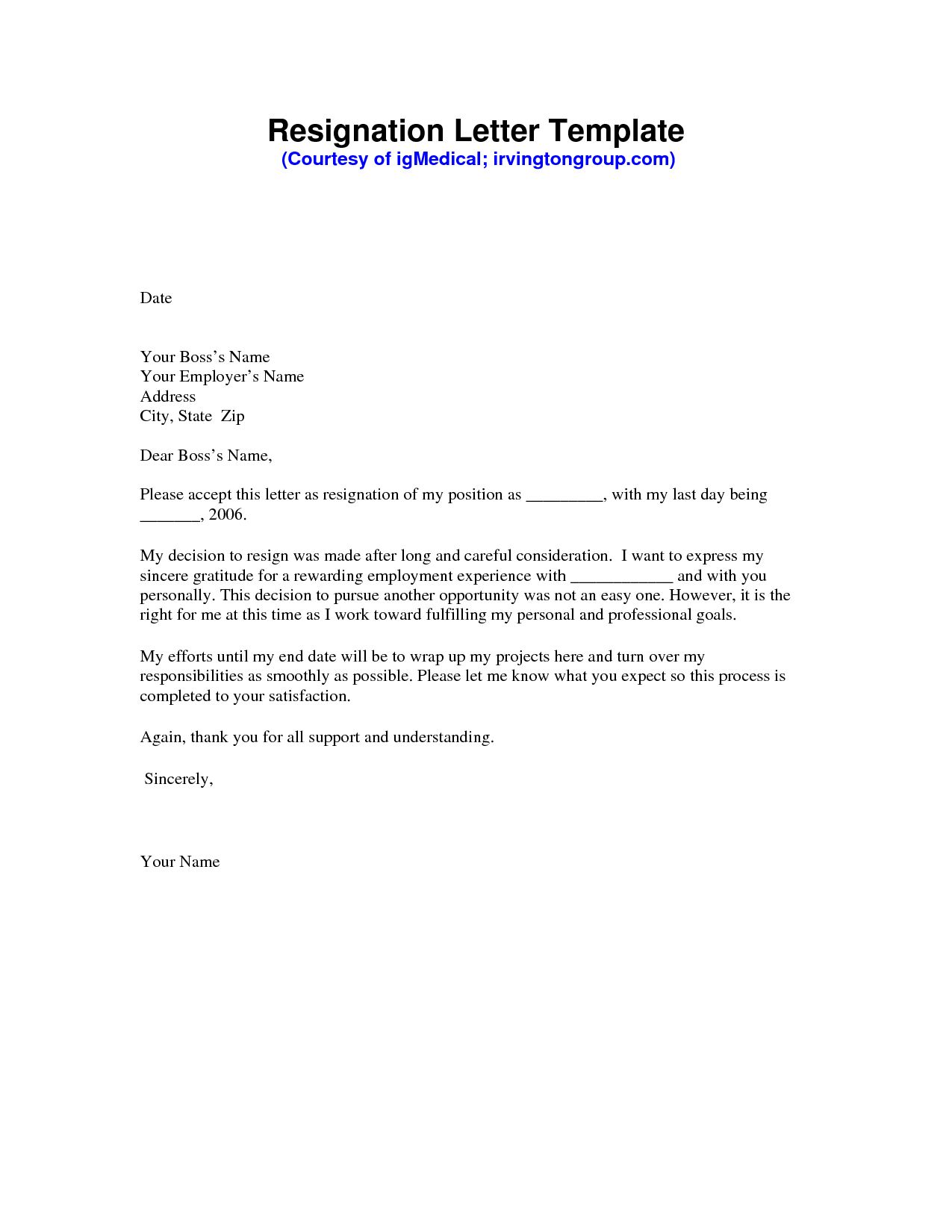 Resignation Letter Free Template Download - Resignation Letter Sample Pdf Resignation Letter