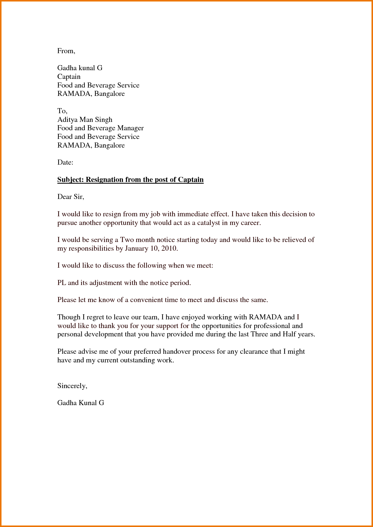 Immediate Resignation Letter Template - Resignation Letter Simple Artesumes How to Make Effective