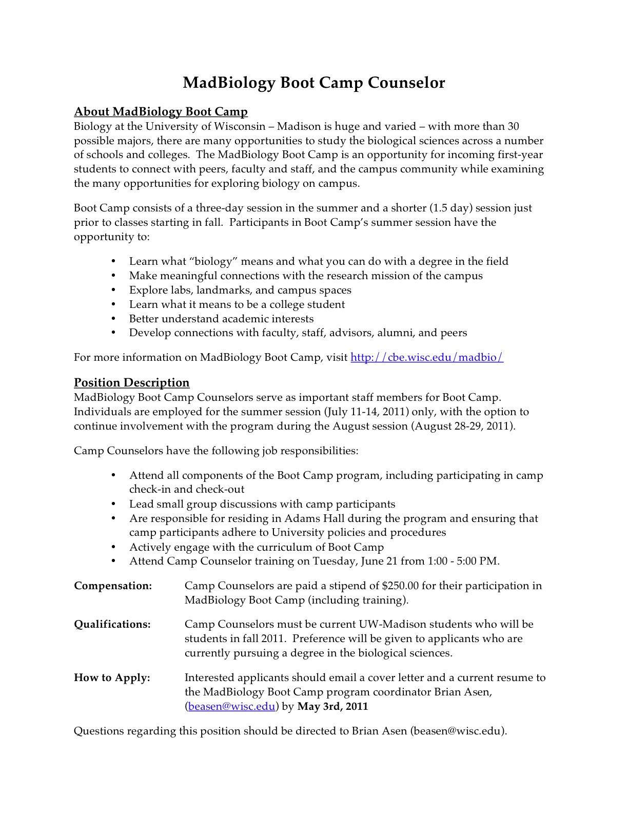 Summer Camp Letter to Parents Template - Responsibilities Of A Camp Counselor for Resume Acurnamedia