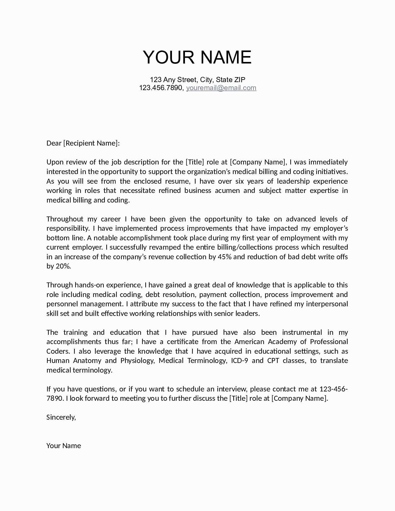 Impressive Cover Letter Template - Resume and Cover Letters Templates Awesome Job Fer Letter Template