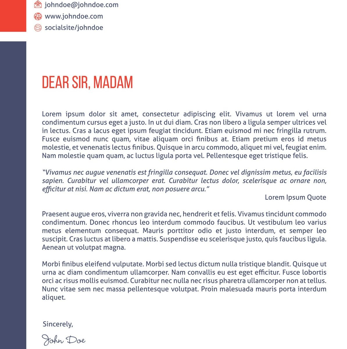 Modern Cover Letter Template Samples