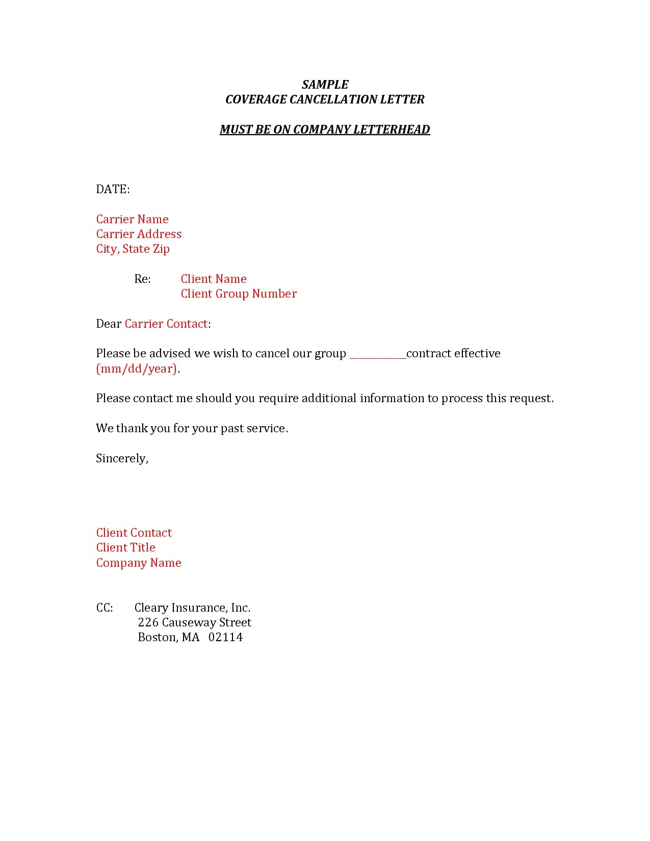 Car Insurance Cancellation Letter Template Examples | Letter