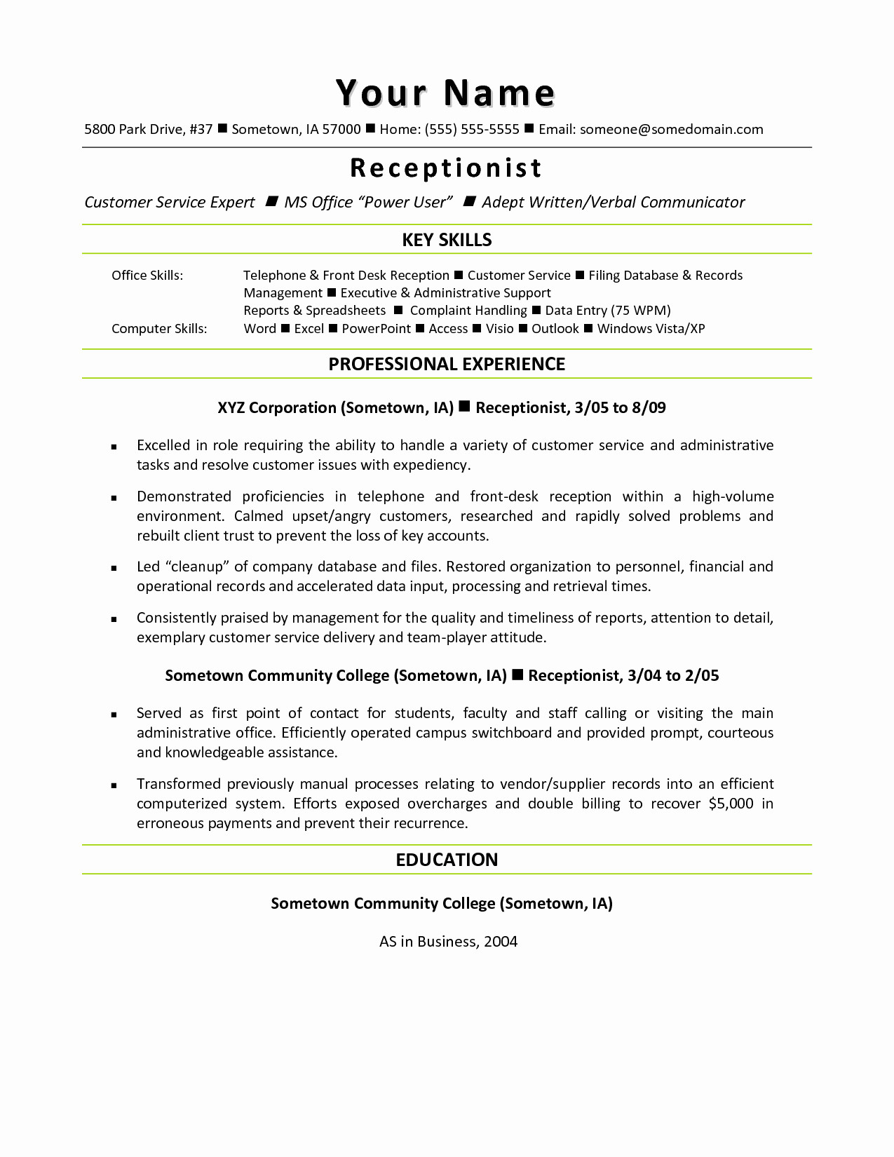Cover Letter Template for Receptionist - Resume Template for Receptionist Elegant Medical assistant Sample