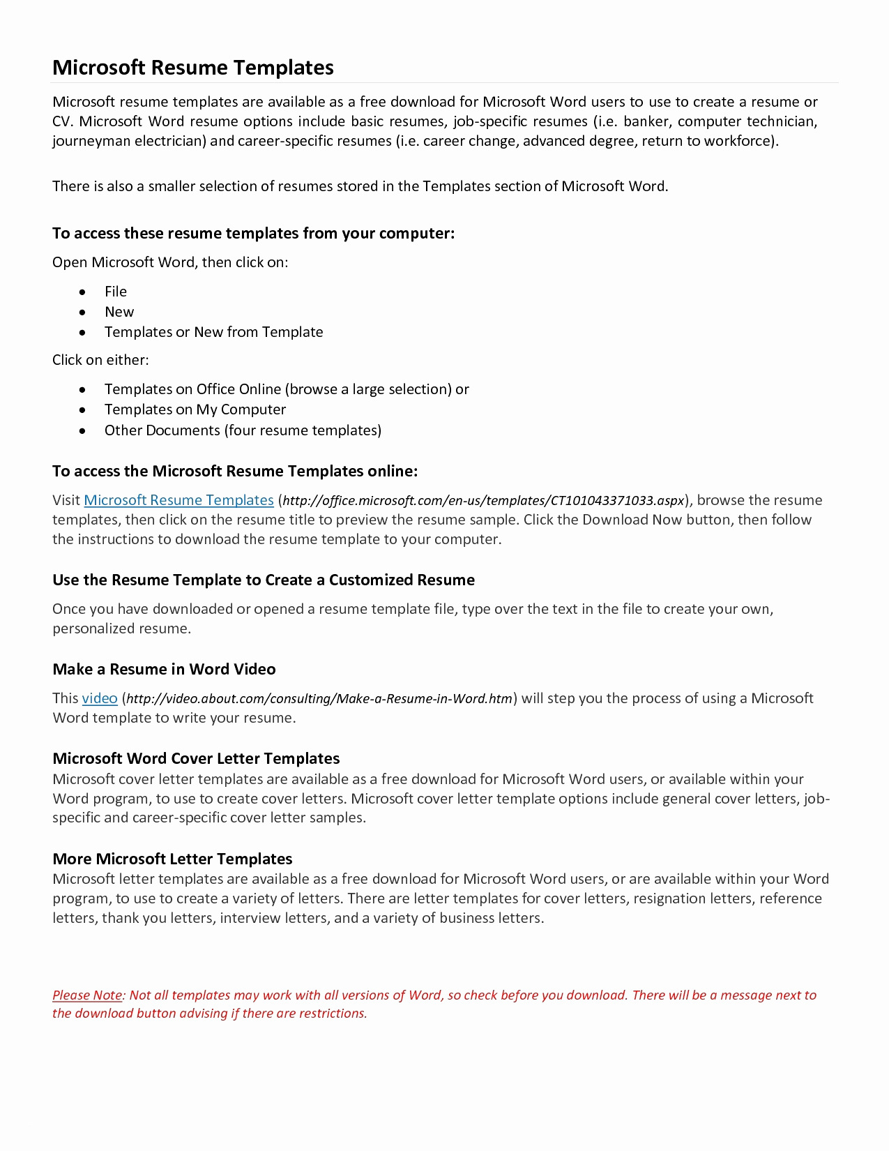 Cover Letter Template Free Download - Resume Templates Microsoft Word Elegant Microsoft Word Resume Sample