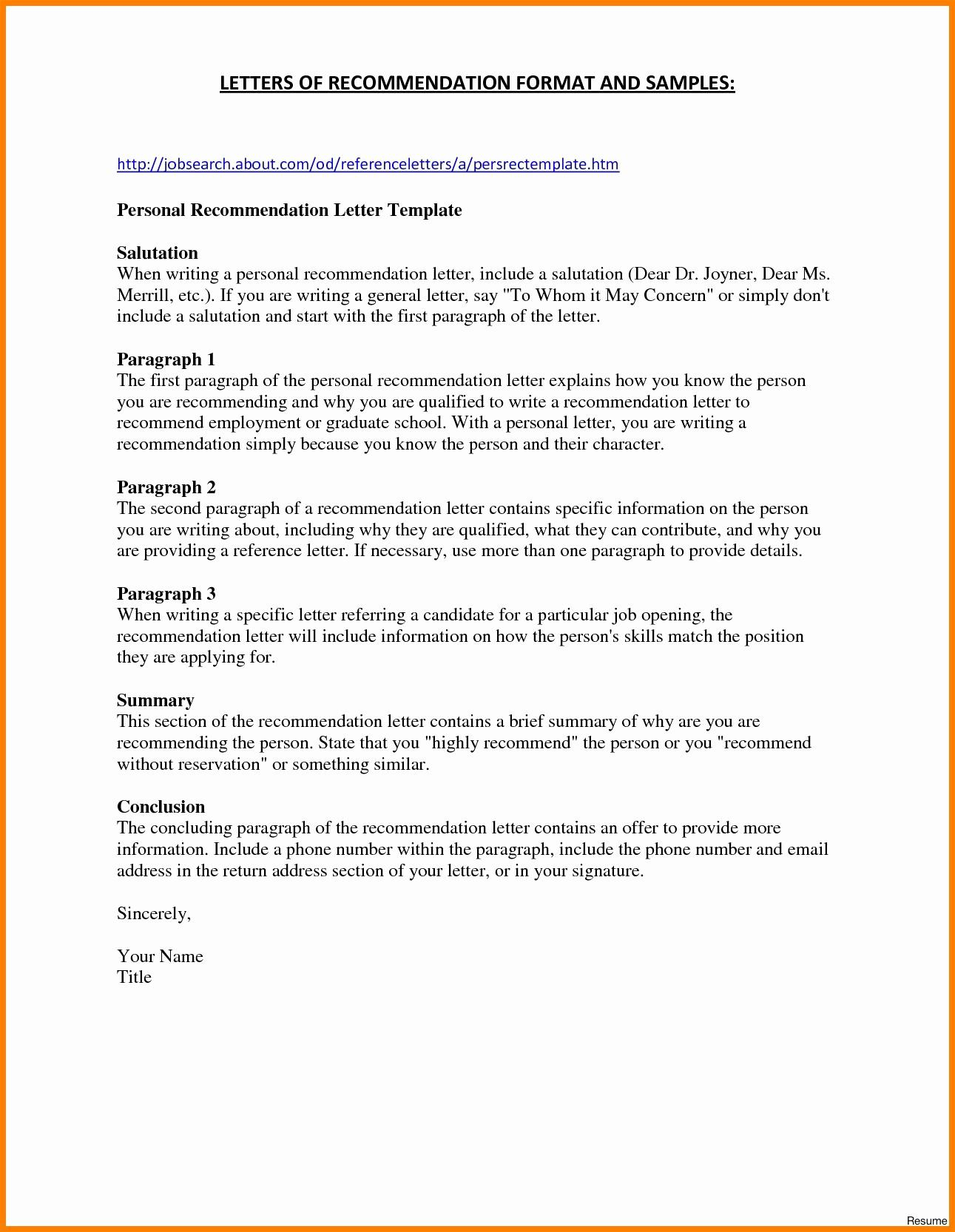 Personal Reference Letter Template Free - Resume Templates Poppycockreviews