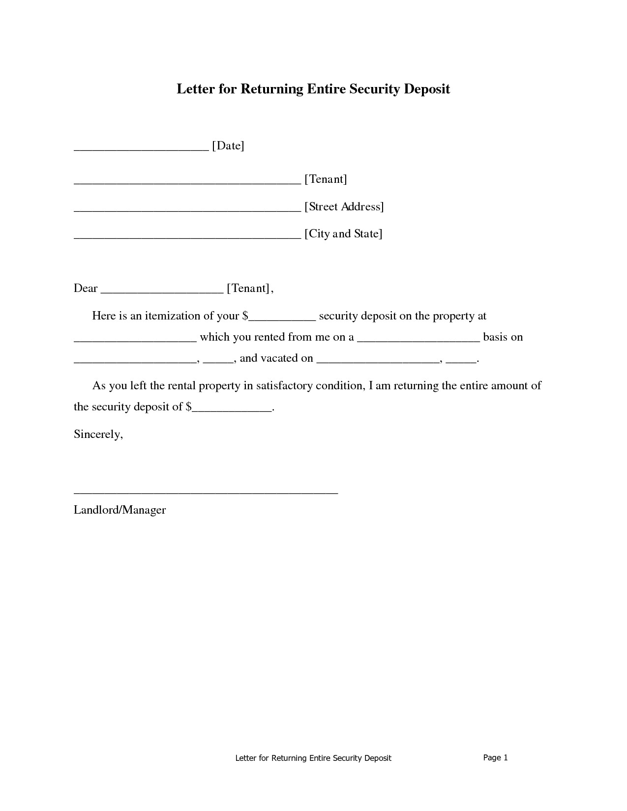 Security Deposit Demand Letter Template Florida - Return Security Deposit Letter Landlord Refund Recent Add