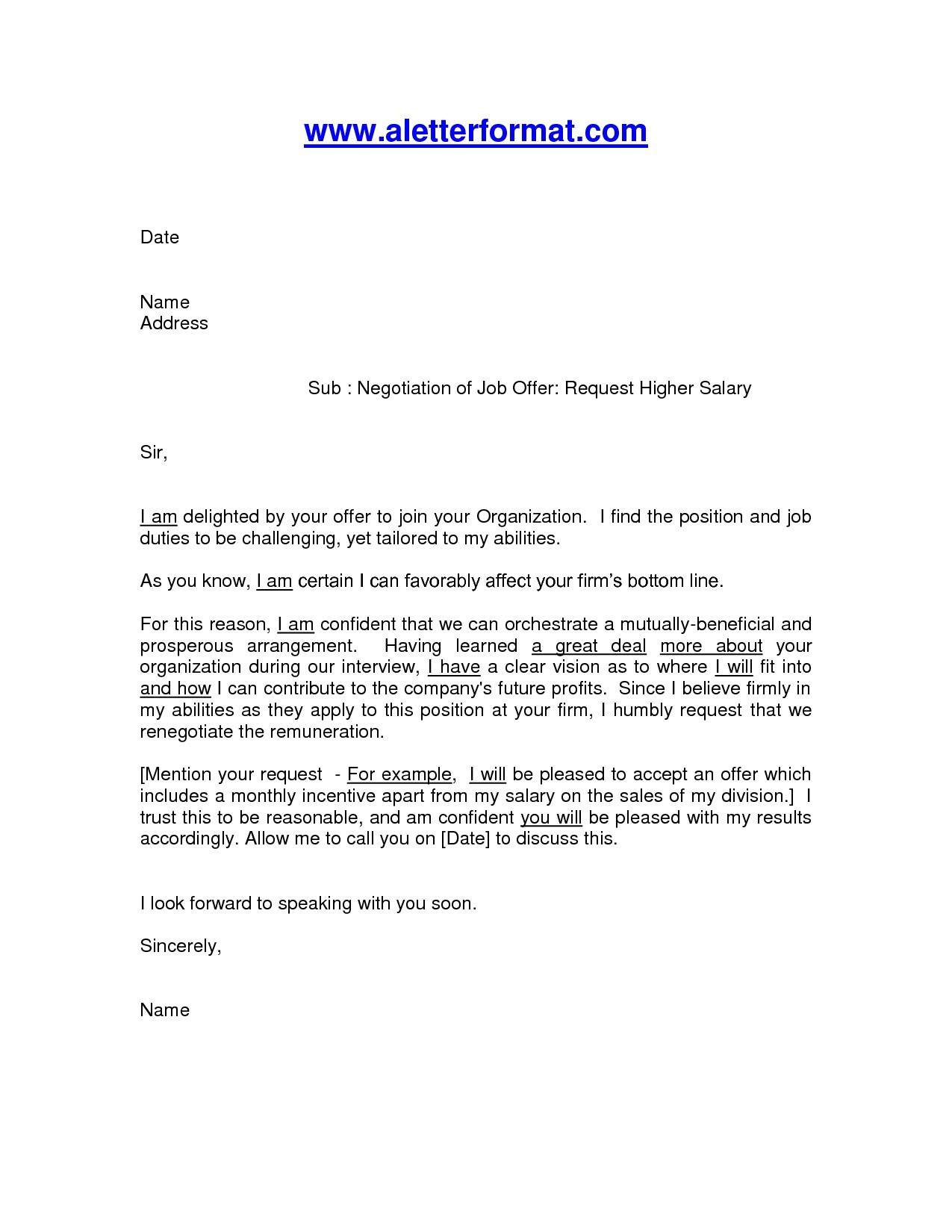 Employment Counter Offer Letter Template - Salary Negotiation Email Template