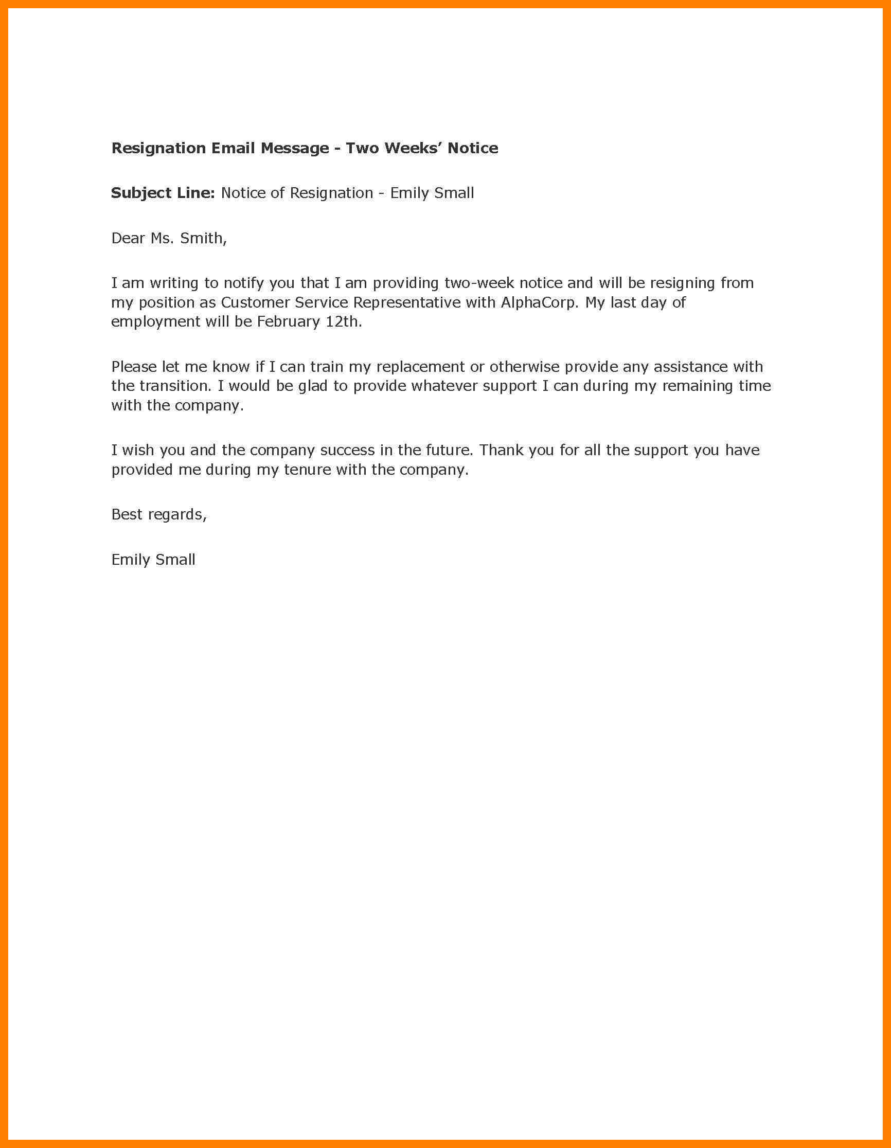 Resignation Letter Template - Sample 2 Week Notice Letter Acurnamedia