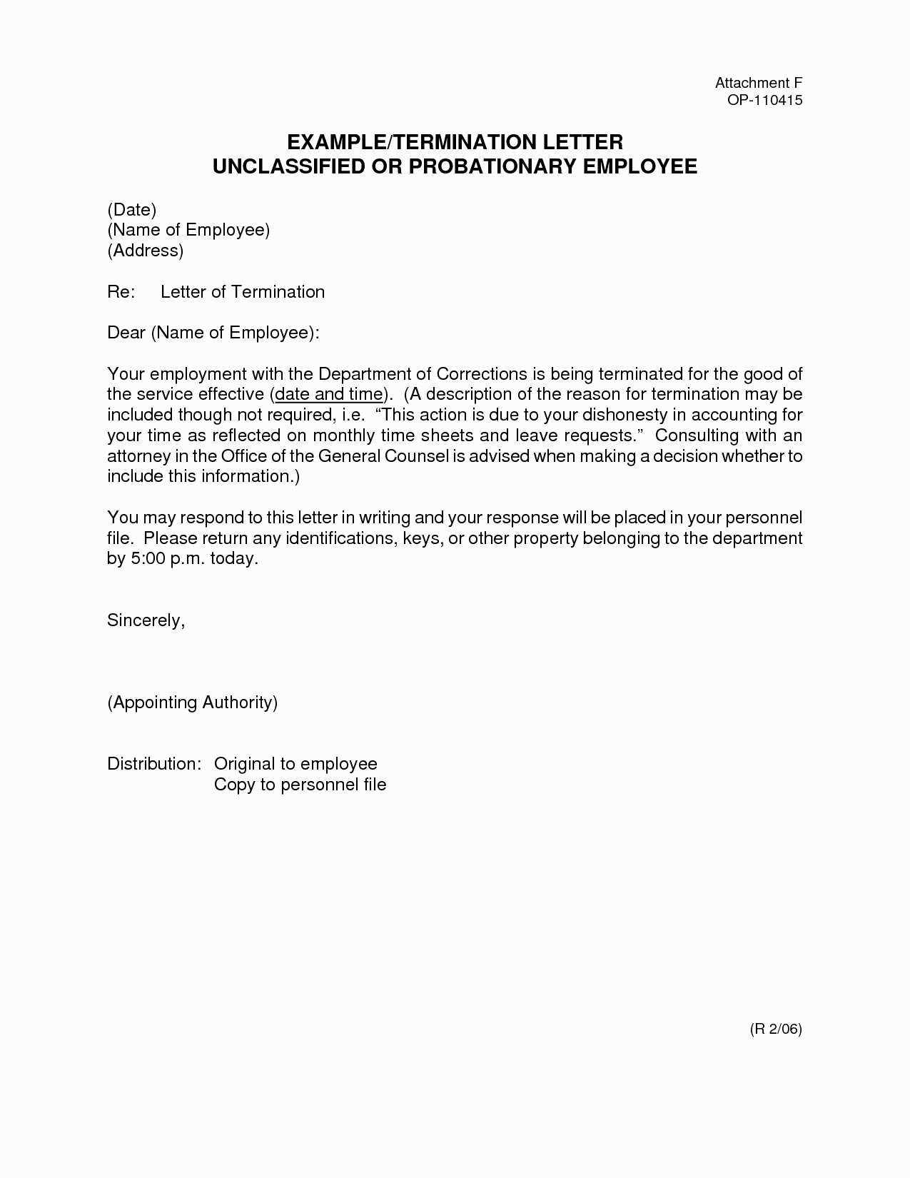 Termination Of Employment Letter Template Collection