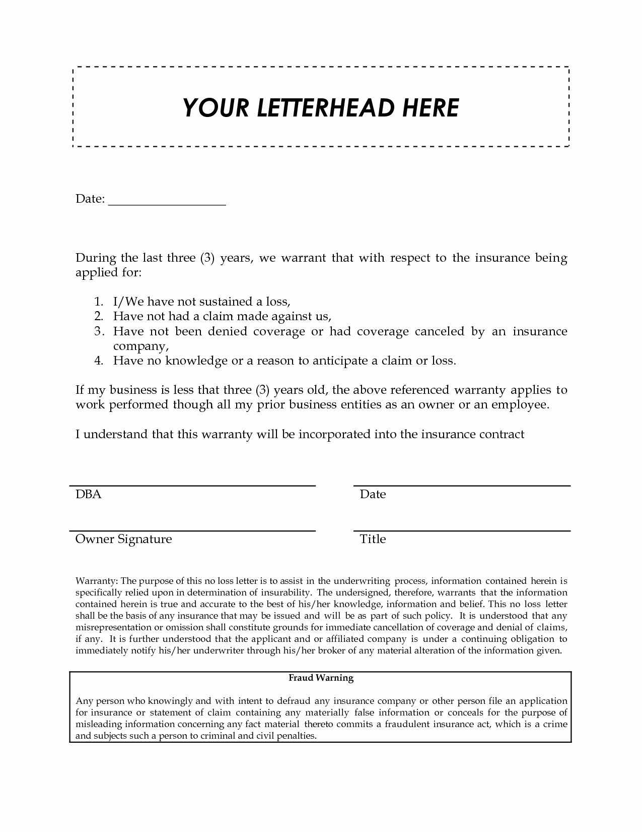 Loss Of Insurance Coverage Letter Template