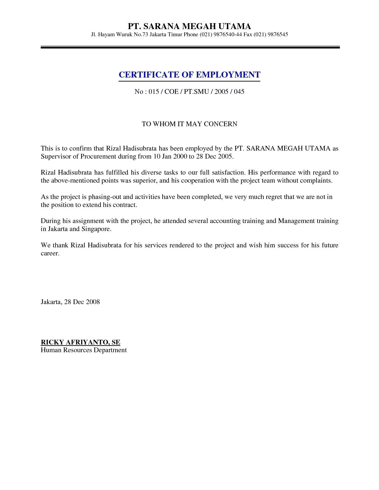 Confirmation Of Employment Letter Template - Sample Certificate Employment with Salary Indicated Best