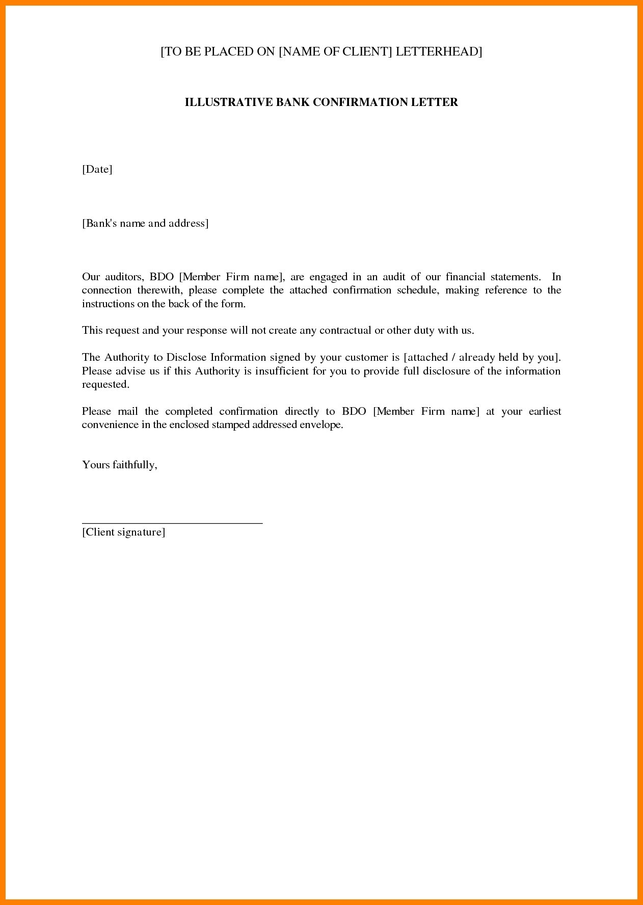 audit confirmation letter template Collection-Sample Confirmation New Sample Audit Letter In Bank New Bank Balance Confirmation 2-j