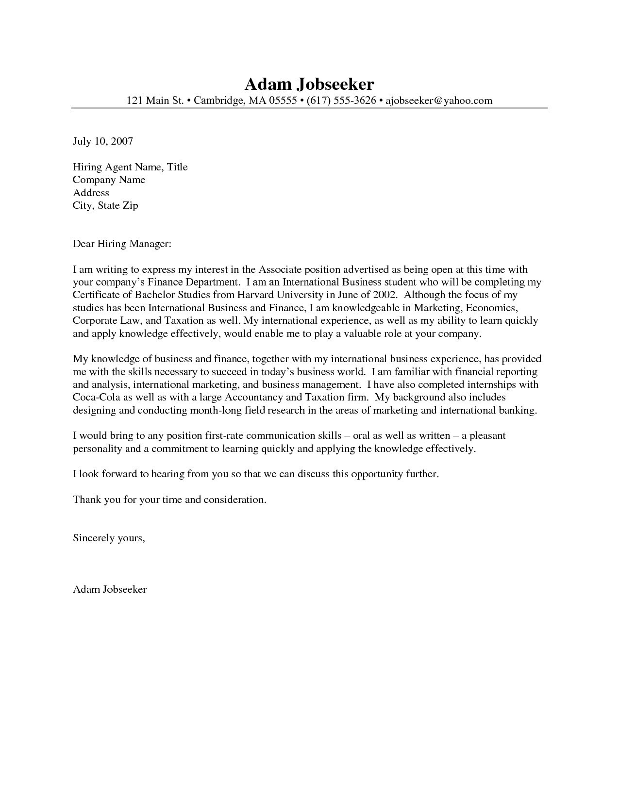 Internship Cover Letter Template - Sample Cover Letter for State Job Best Cover Letter Examples for