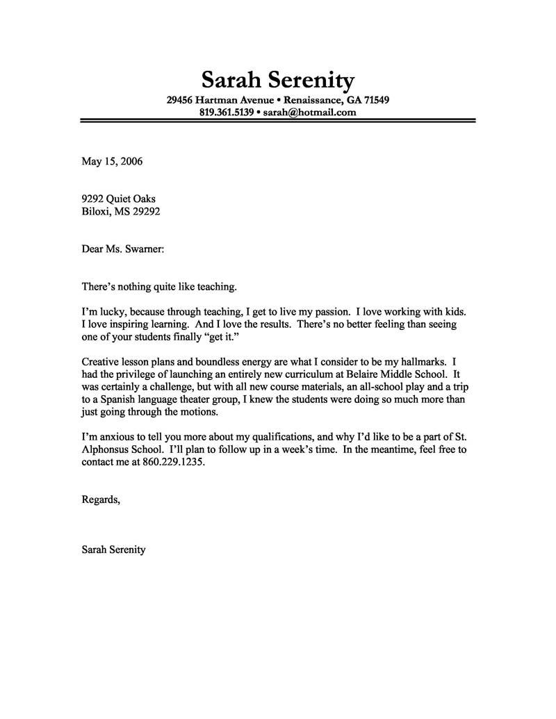 Teacher Reference Letter Template - Sample Cover Letter for Teacher Resume Samples