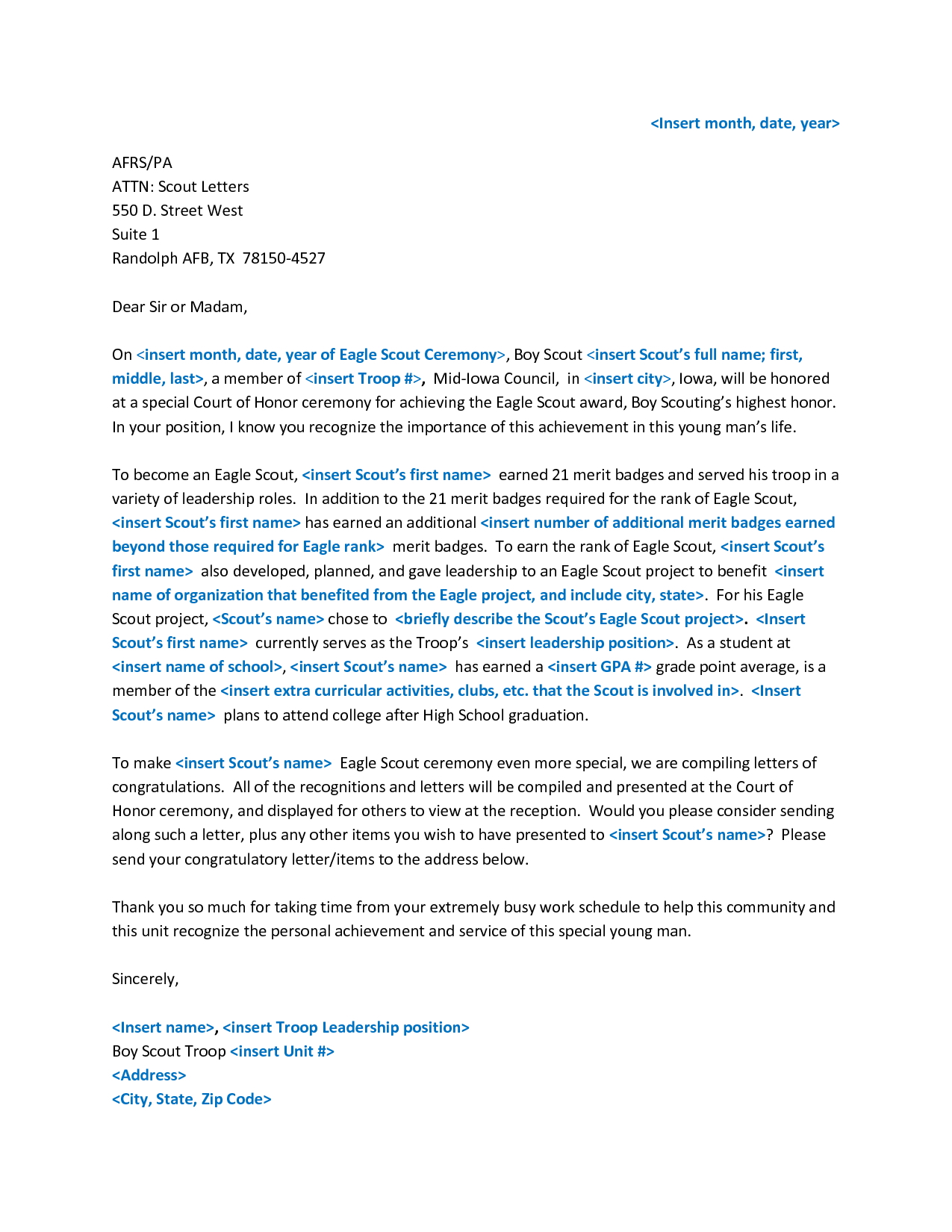 Reference Letter Template - Sample Eagle Re Mendation Letter Acurnamedia