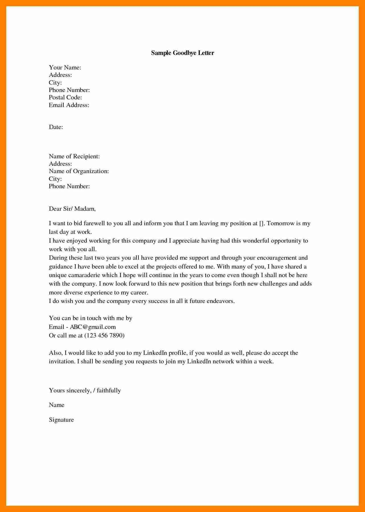 Goodbye Letter to Addiction Template - Sample Goodbye Email to Colleagues at Work Valid Save Best New
