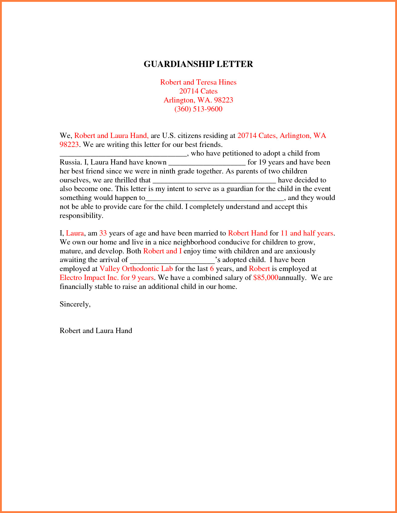 Free Guardianship Letter Template Collection | Letter Cover Templates