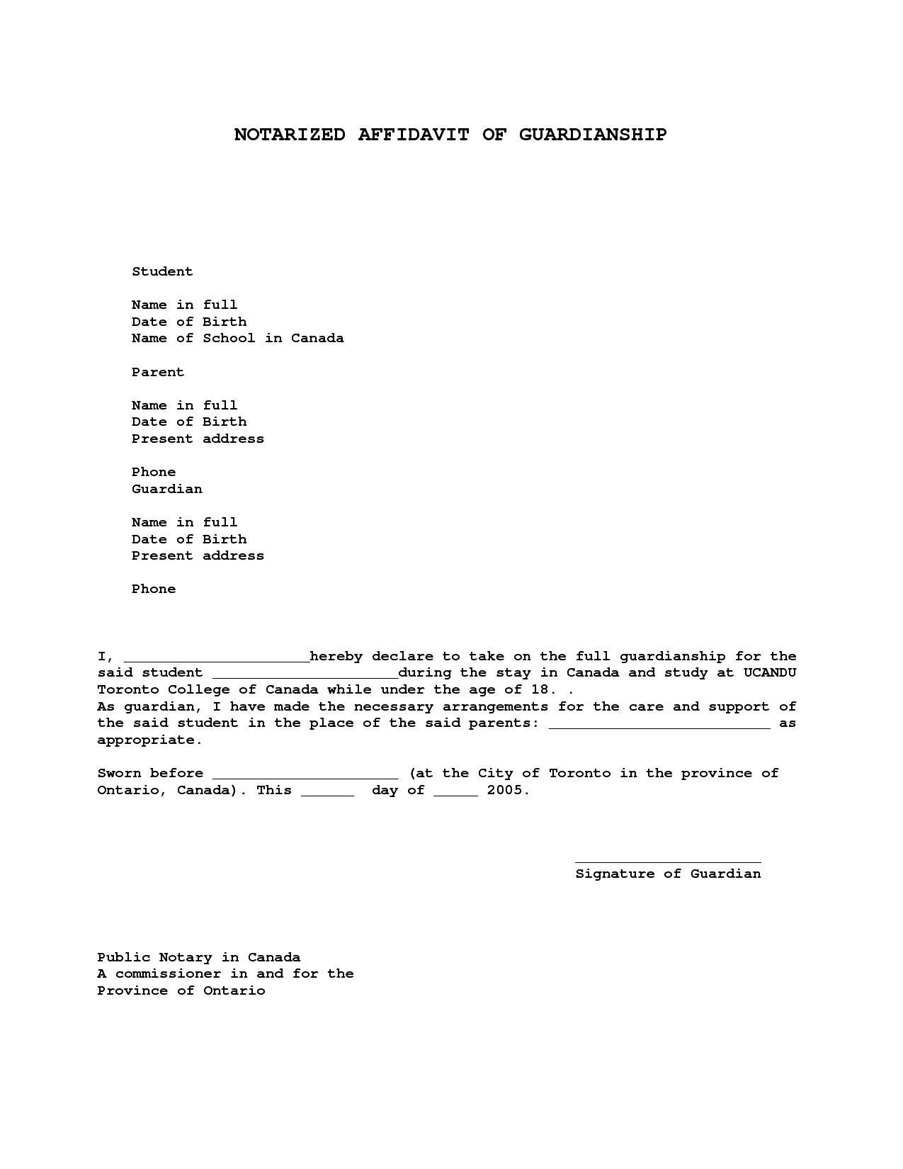 Free Notarized Letter Template - Sample Guardianship Letter Unique Nice Temporary Guardianship Letter