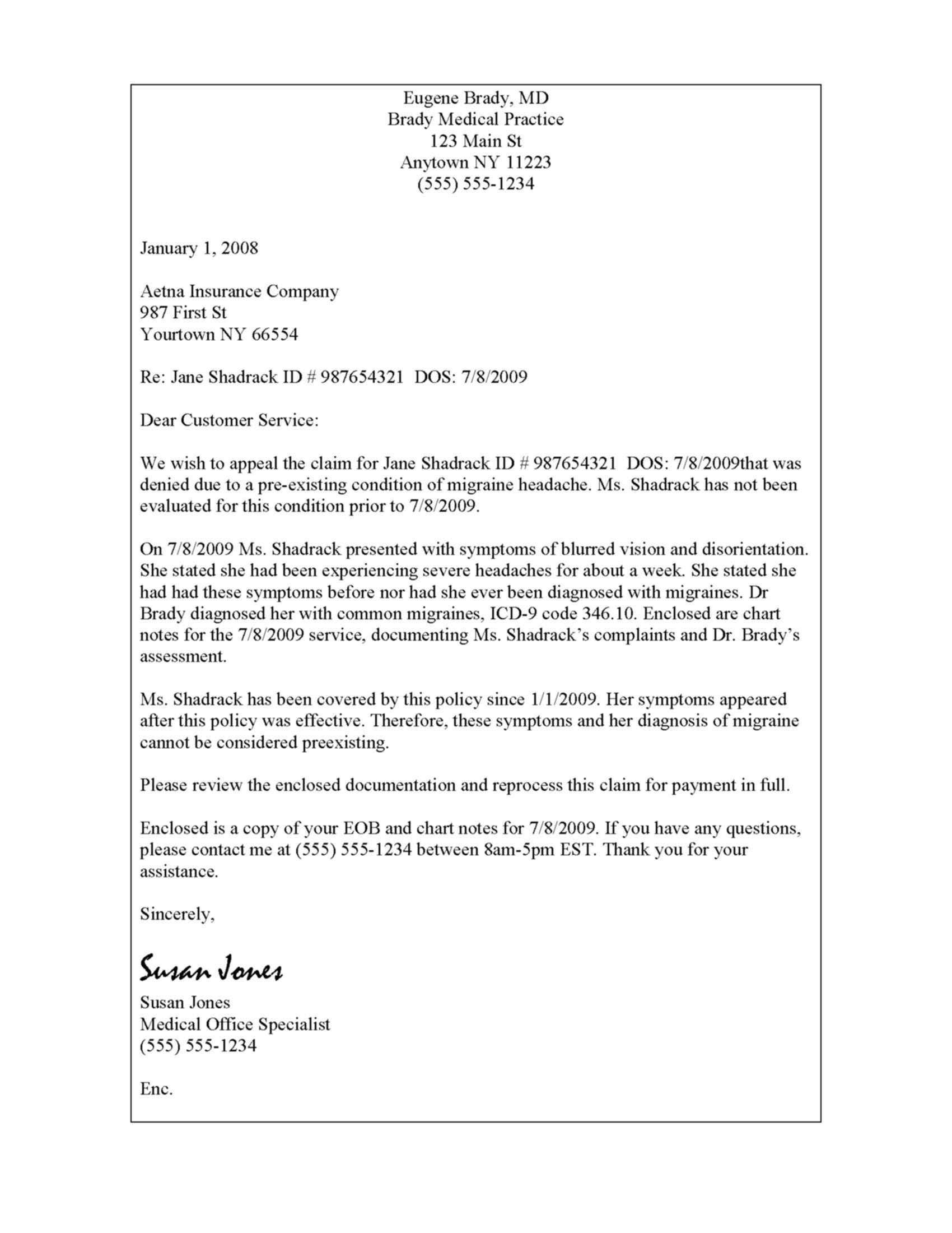 Disability Appeal Letter Template - Sample Insurance Appeal Letter for Authorization Best format