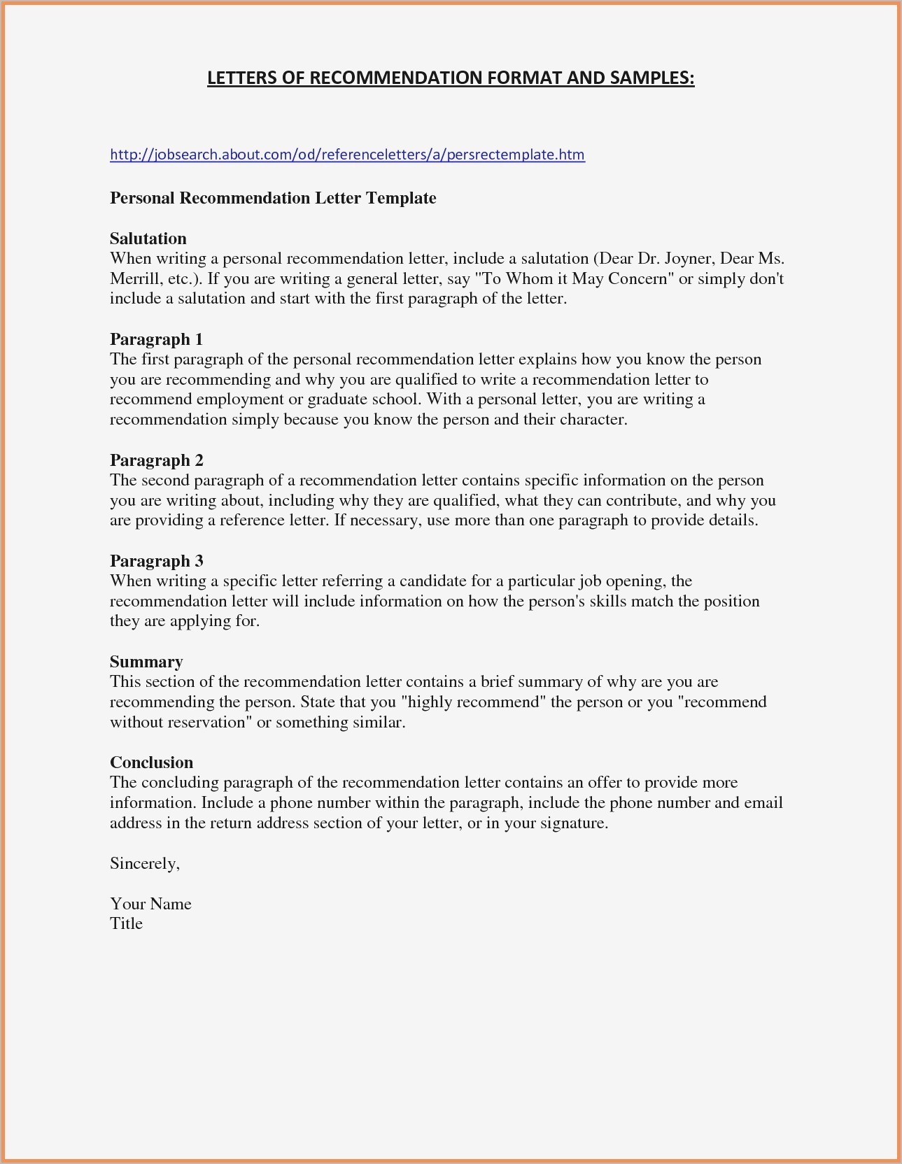 General Letter Of Recommendation Template - Sample Job Re Mendation Letter New Re Mendation Letter Sample for