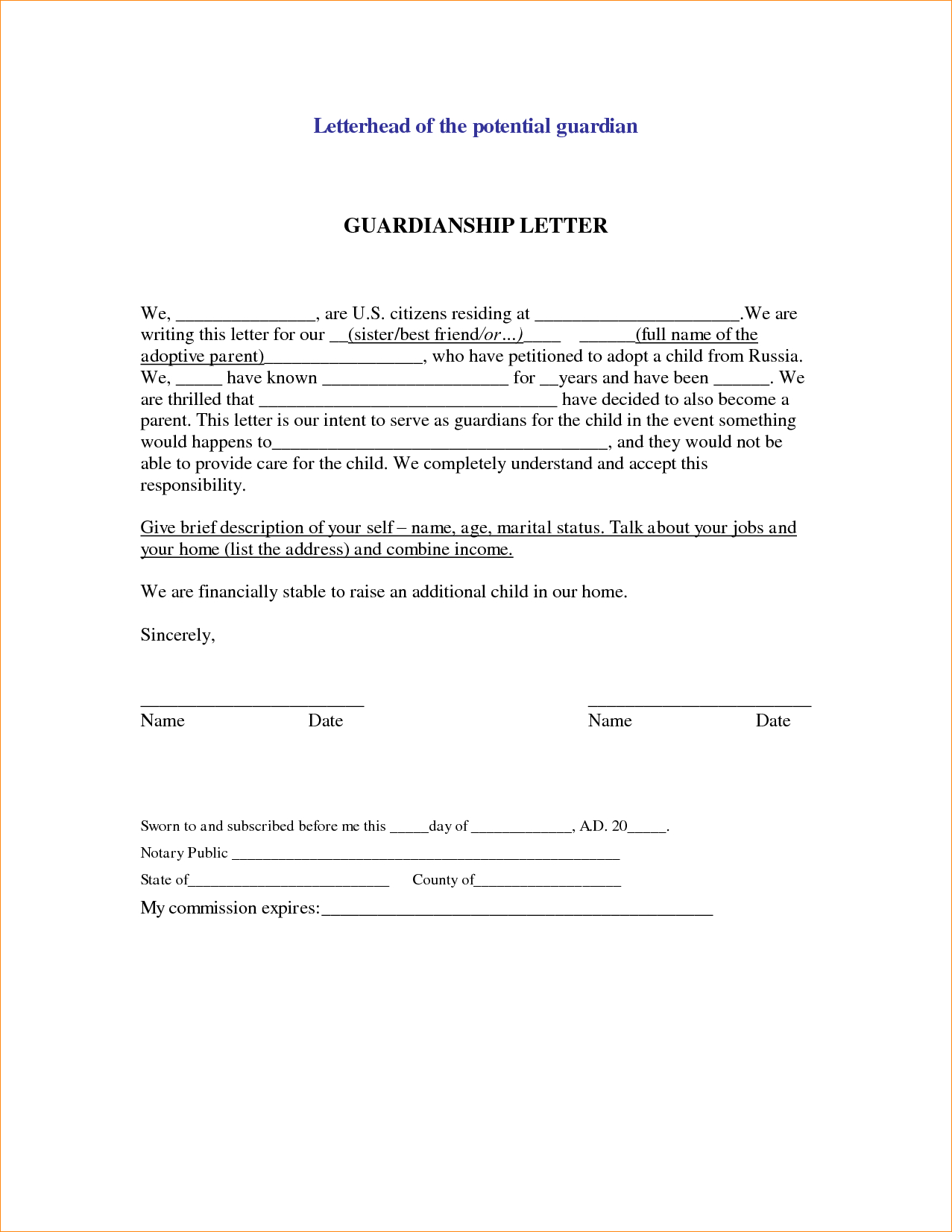 Permanent Guardianship Letter Template - Sample Legal Letter Template