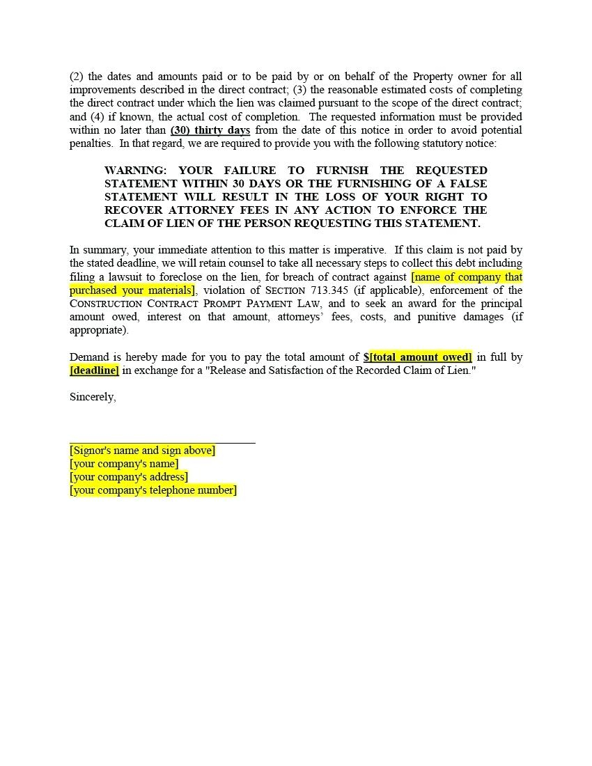 Notice Of Lien Letter Template - Sample Letter Intent to Lien Picture Design Example Notice Sue