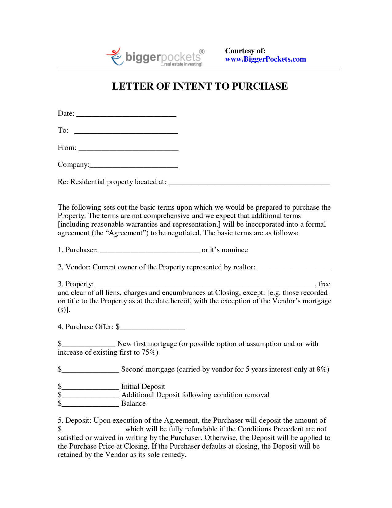 Letter Of Intent Investment Template - Sample Letter Intent to Purchaseesidential Property S Ideas