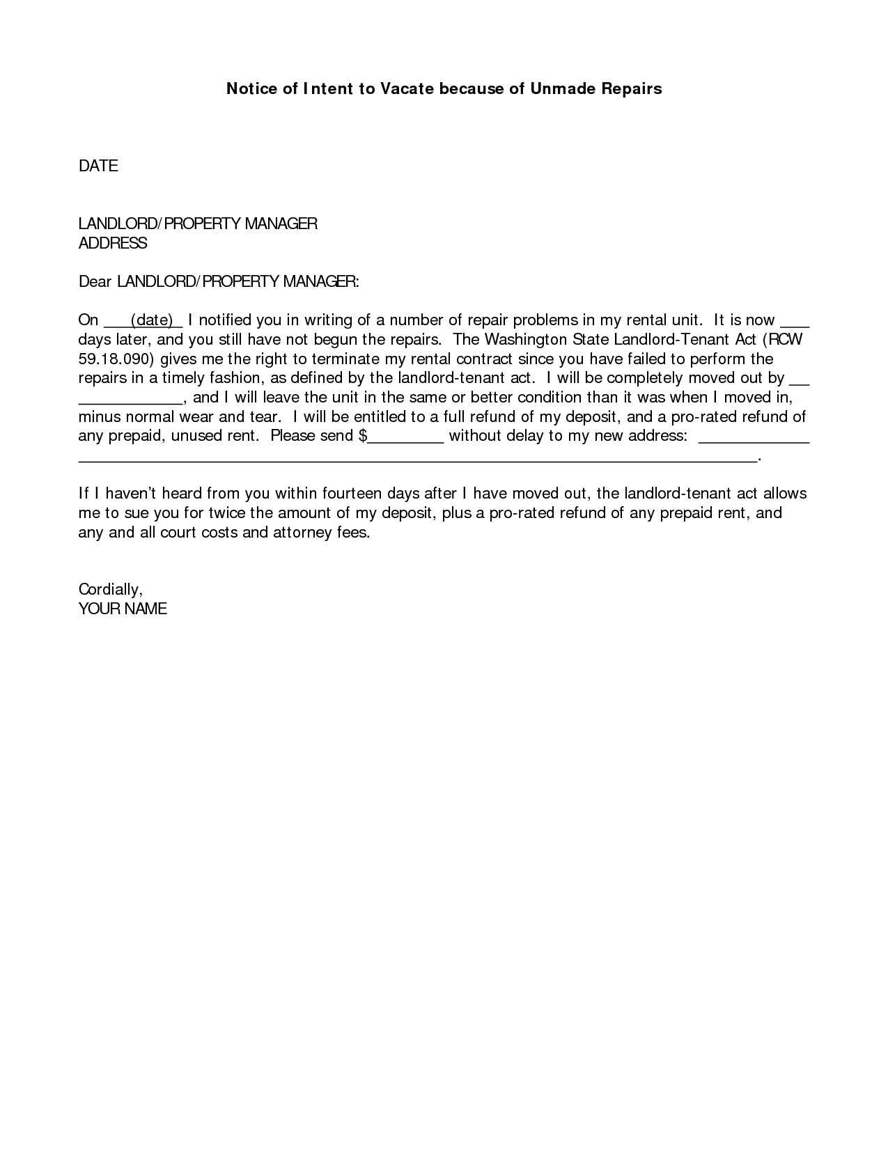 Notice to Vacate Apartment Letter Template - Sample Letter to Landlord with Notice Vacate Smart Letters Intent