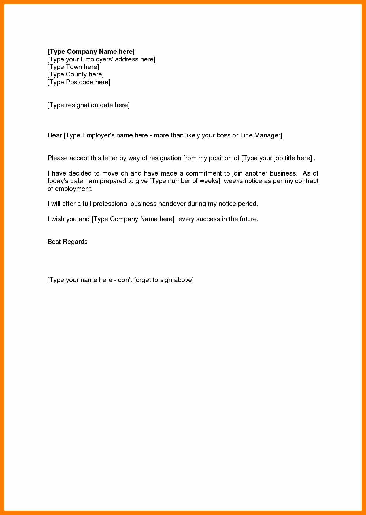 Short Resignation Letter Template - Sample Notice Resignation Good Resume format Professional Letter