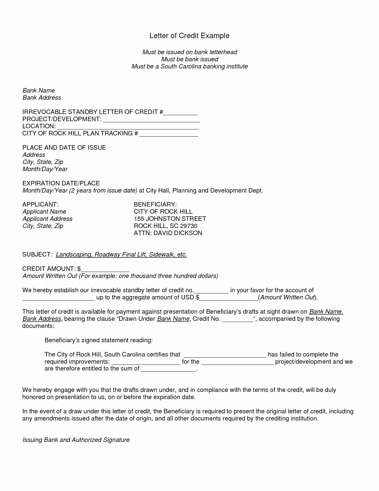 irrevocable letter of credit irrevocable letter of credit template examples letter 47818