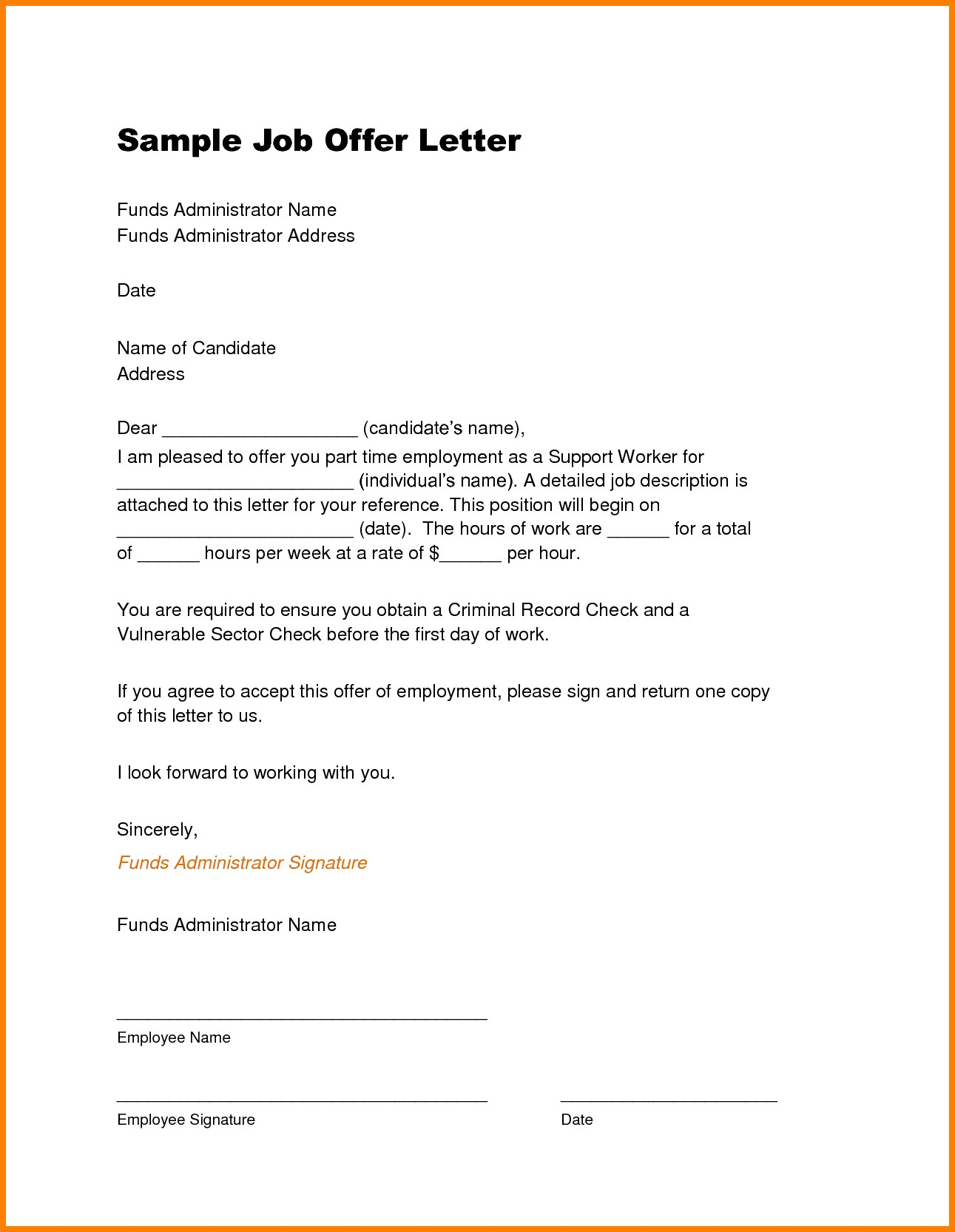 job offer letter samples