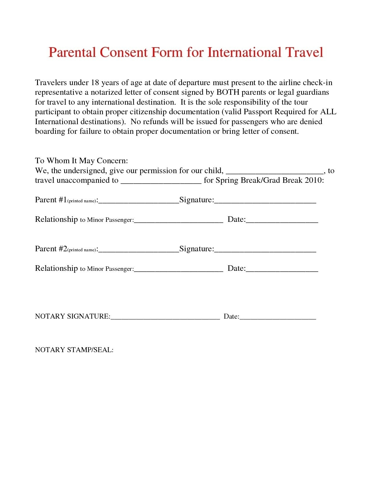 Child Travel Consent Letter Template - Sample Permission Letter to Travel Best Notarized Letter